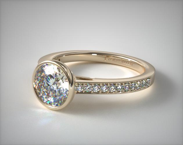 14K Yellow Gold Bezel Set Pave Diamond Engagement Ring