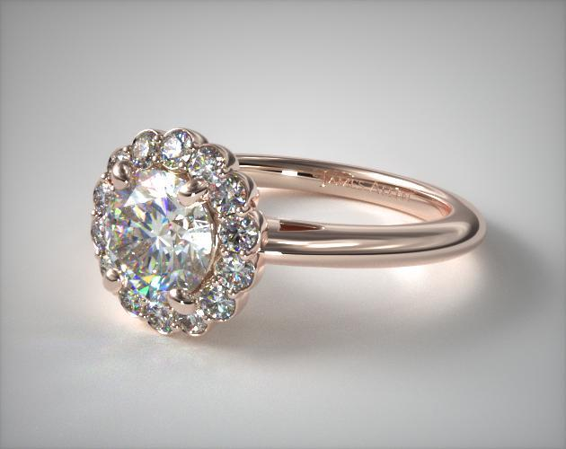 14K Rose Gold Floral Halo Engagement Ring