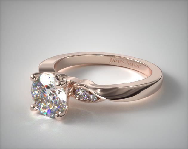 14K Rose Gold Blossoming Vine Engagement Ring