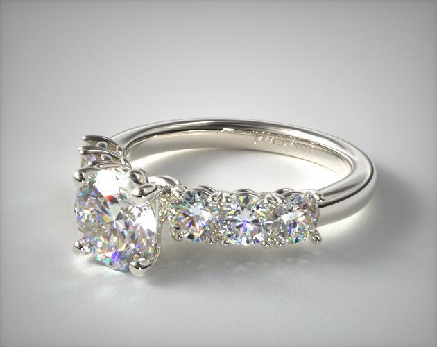18K White Gold Prong Set Diamond Engagement Ring (.90 ctw)