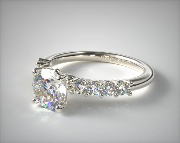 14K White Gold Prong Set Diamond Engagement Ring