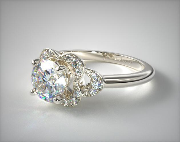 14K White Gold Art Deco Inspired Flower Halo Engagement Ring