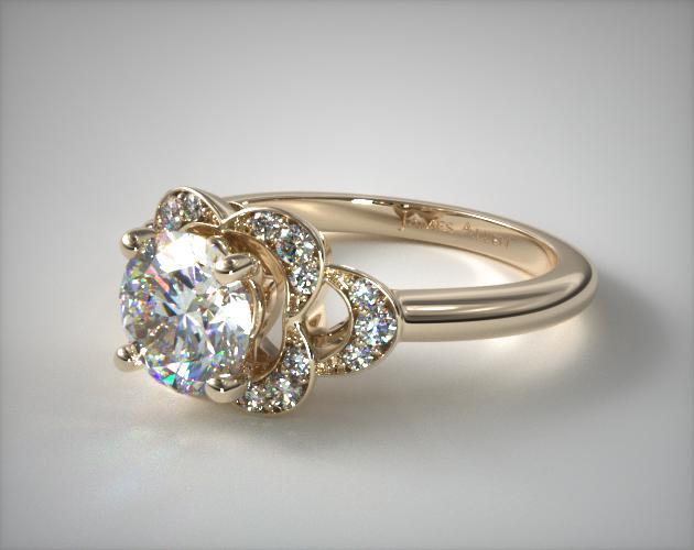 defadd20f42 Art Deco Inspired Flower Halo Engagement Ring