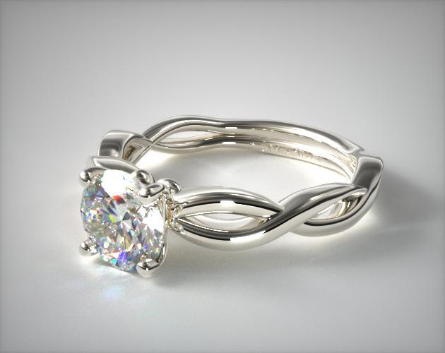 14K White Gold Infinity Solitaire Engagement Ring