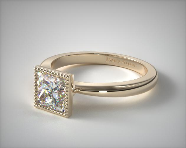 14K Yellow Gold Milgrain Bezel Solitaire Engagement Ring