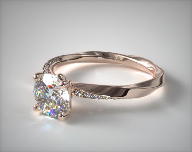 14K Rose Gold Twisted Pave Engagement Ring