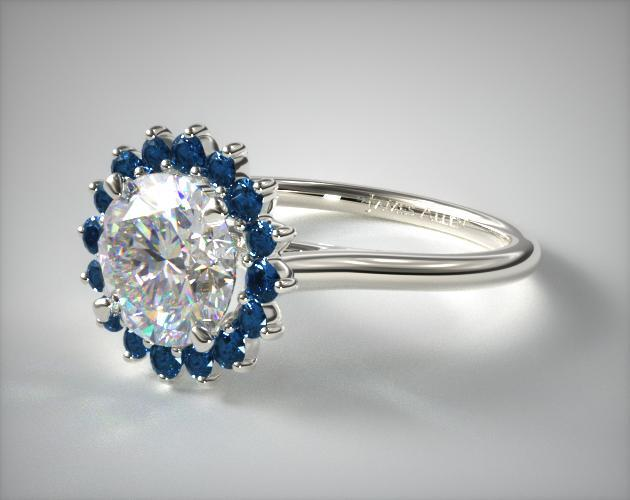 18K White Gold Blue Sapphire Pave Sunburst Engagement Ring