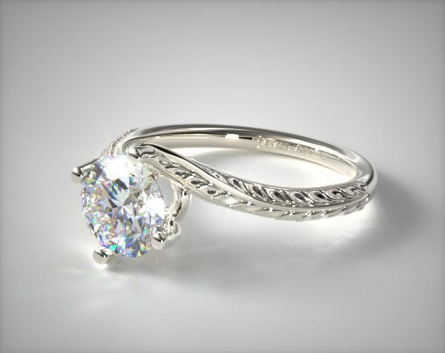 14K White Gold Engraved Swirl Engagement Ring