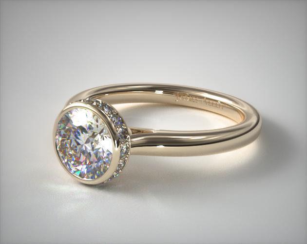 14K Yellow Gold Pave Crown Bezel Engagement Ring