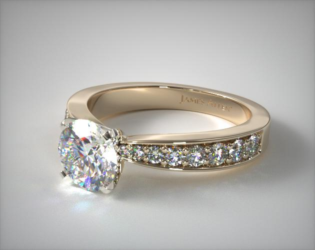 14K Yellow Gold Perfect Pavé Engagement Ring