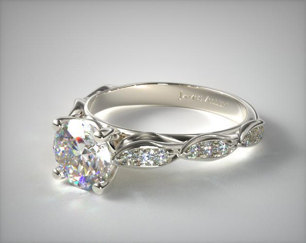 14K White Gold Cascading Petal Engagement Ring