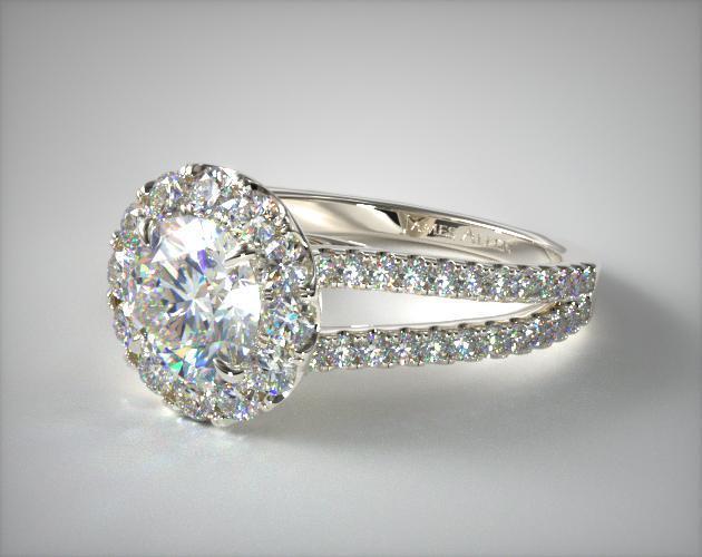 18K White Gold Grande Halo Split Shank Engagement Ring