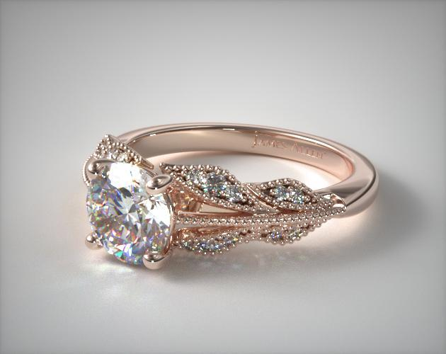 engagement rings, vintage, 14k rose gold vintage inspired ...