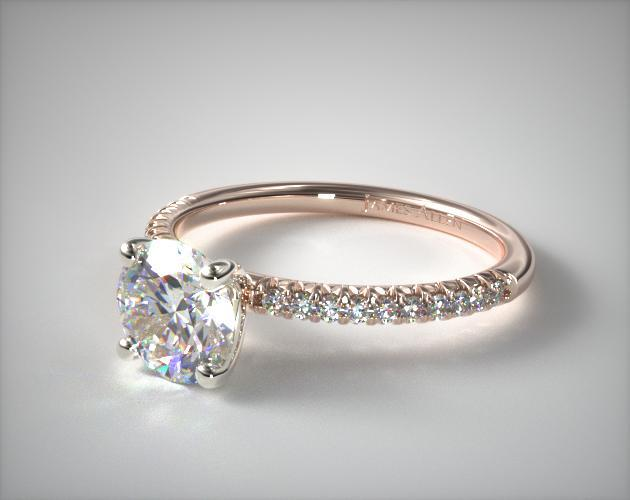 14K Rose Gold Petite Pave Engagement Ring (Flush Fit)
