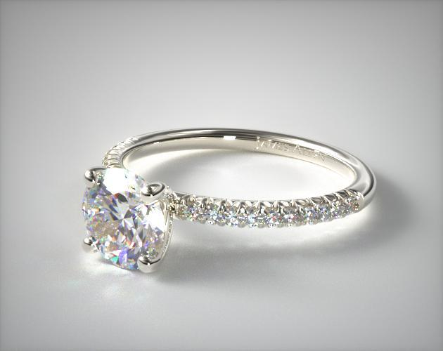 14K White Gold Petite Pave Engagement Ring (Flush Fit)