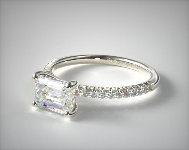 14K White Gold Petite Pave Engagement Ring (Flush Fit )