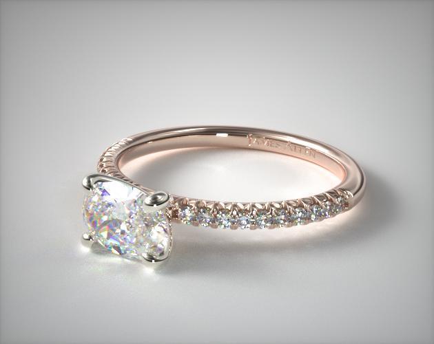 14K Rose Gold East-West Petite Pavé Engagement Ring (Flush Fit )