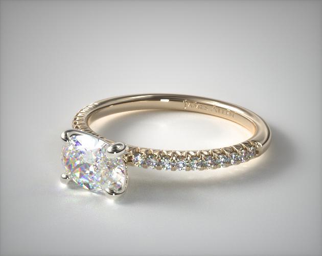 14K Yellow Gold East-West Petite Pavé Engagement Ring (Flush Fit )