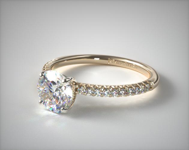 18K Yellow Gold Petite Pavé Engagement Ring