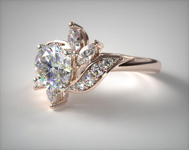Bird of Paradise Engagement Ring 14K Rose Gold