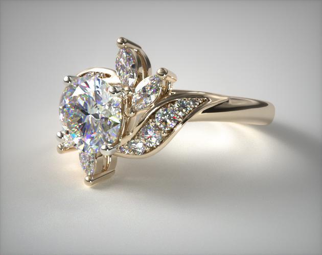 14K Yellow Gold Bird of Paradise Engagement Ring