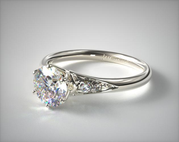 14K White Gold Tapered Pave Engagement Ring