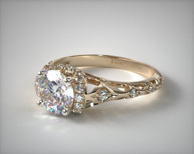 enchanted filigree engagement ring 14k yellow gold