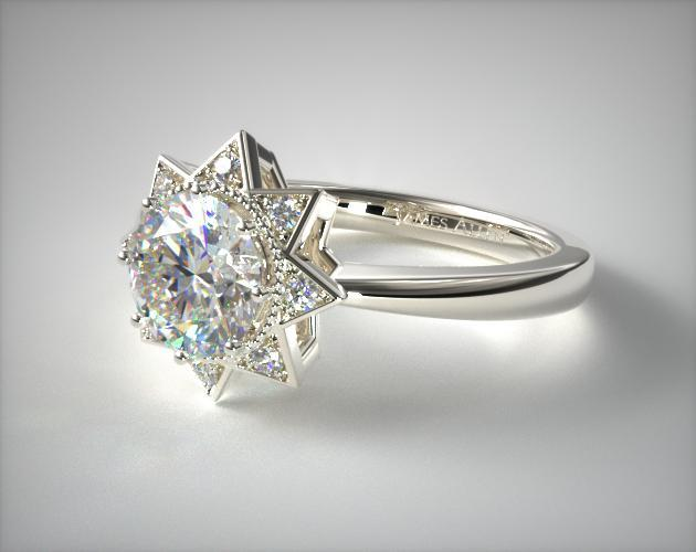 Shining Star Engagement Ring 14k White Gold James