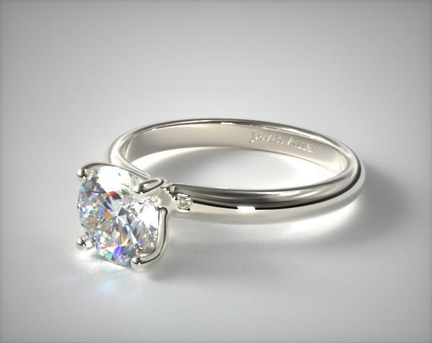 14K White Gold Contour Engagement Ring