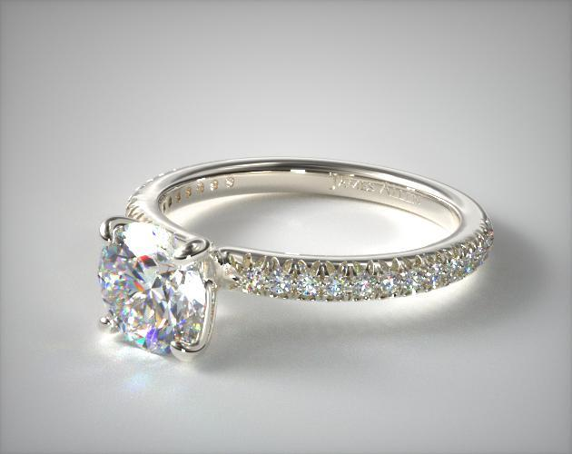 14K White Gold Pave Countour Engagement Ring