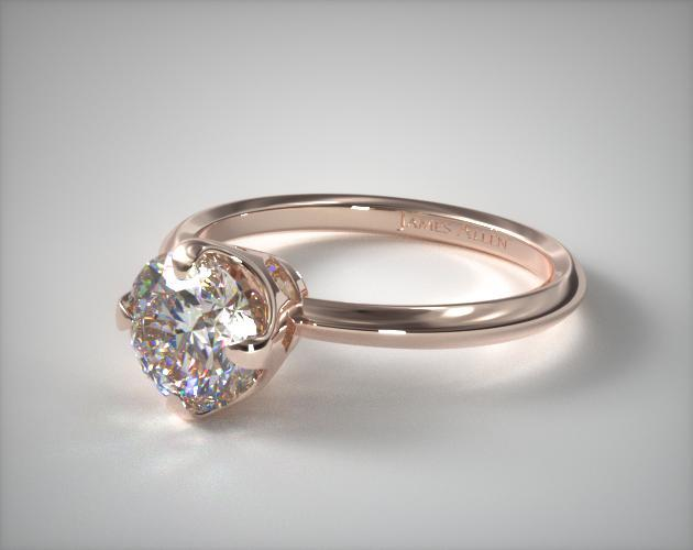 14K Rose Gold Compass Point Solitaire Engagement Ring