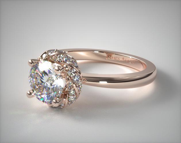 Classic Twisted Pave Halo Engagement Ring 14k Rose Gold