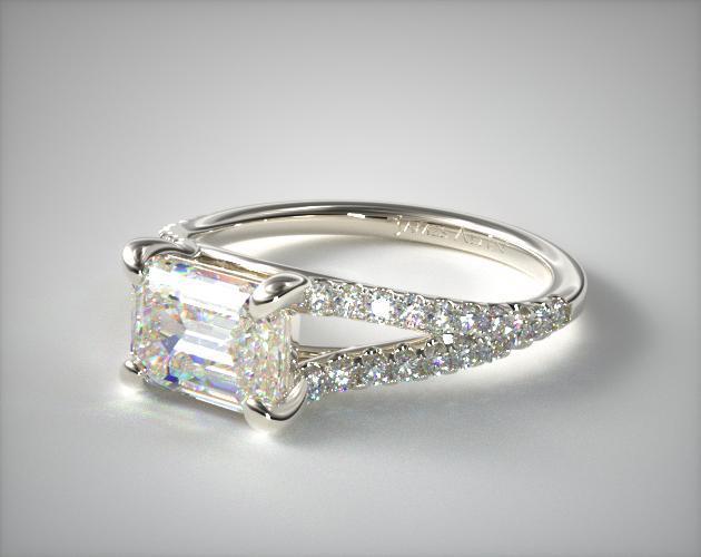 14K White Gold Emerald Shape Split Shank Engagement Ring