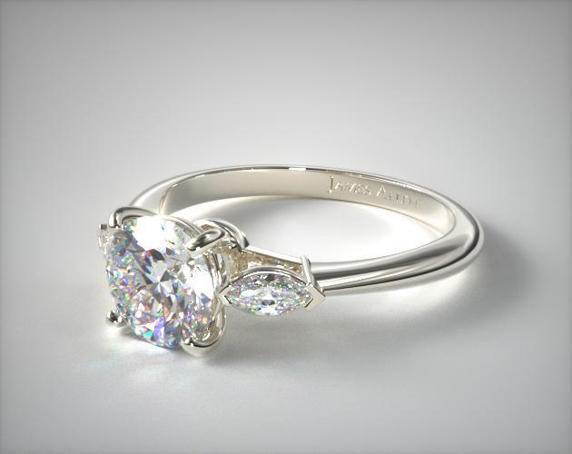 Marquise Shape Three Stone Ring 14k White Gold James