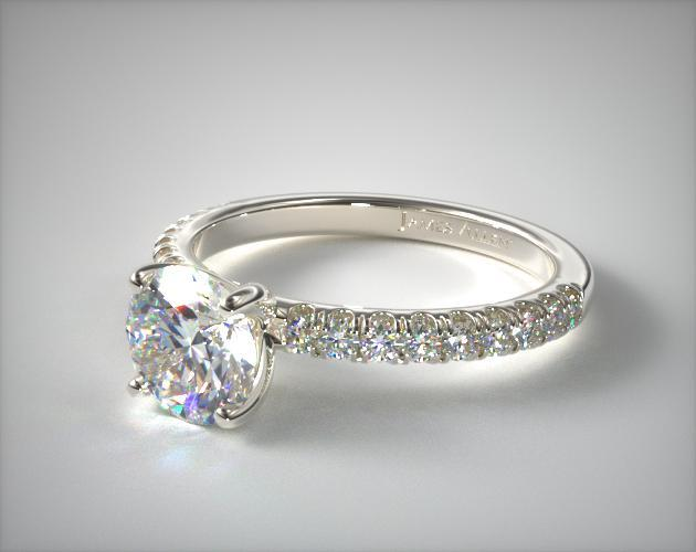 Engagement Rings Side Stones 14k White Gold Single Row Pave Engagement Ring Item 63096