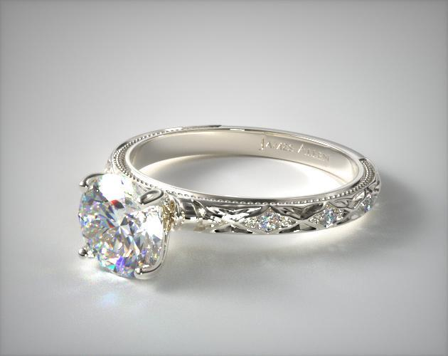 14K White Gold Blossom Engagement Ring