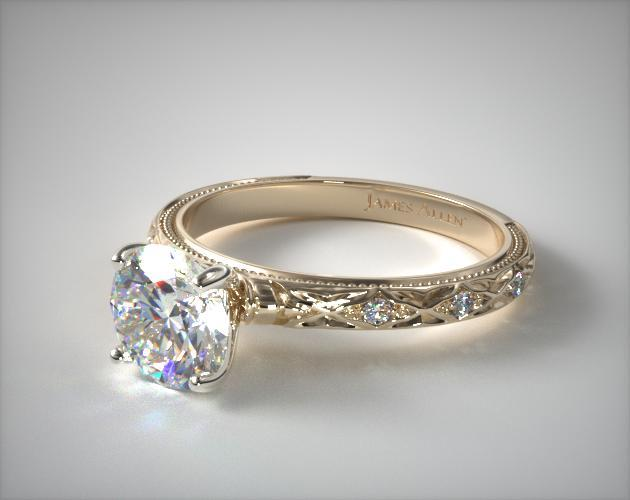 18K Yellow Gold Blossom Engagement Ring