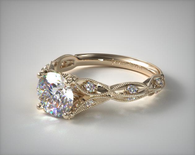 engagement rings, vintage, 14k yellow gold milgrain ...