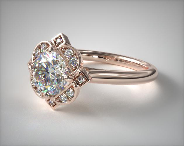 Engagement Rings Vintage 14k Rose Gold Art Deco Inspired Floral Halo Engagement Ring Item 61884