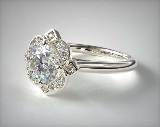 14K White Gold Art Deco Inspired Floral Halo Engagement Ring