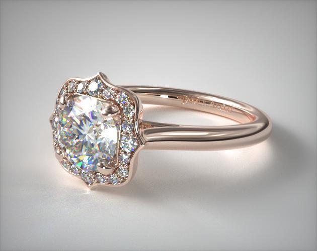 engagement rings, vintage, 14k rose gold vintage inspired ...