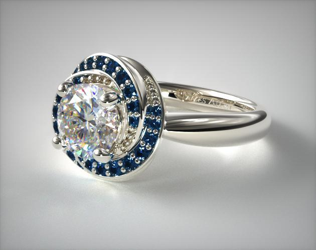 14K White Gold Enchanted Swirl Engagement Ring