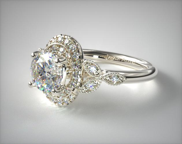 14K White Gold Swirling Oval Shape Halo Engagement Ring