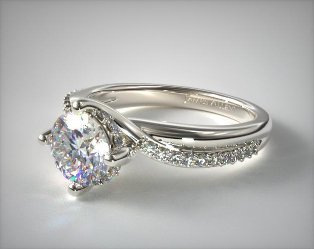 ae0d99c53 engagement rings, tension, 14k white gold twisted pave kite set engagement  ring item 63072