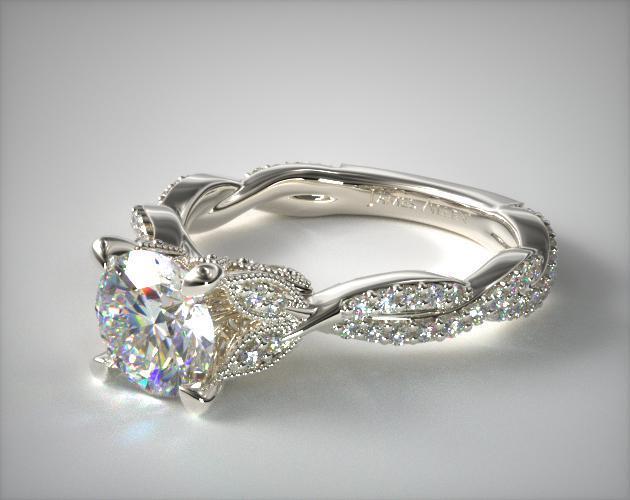 engagement rings, vintage, 14k white