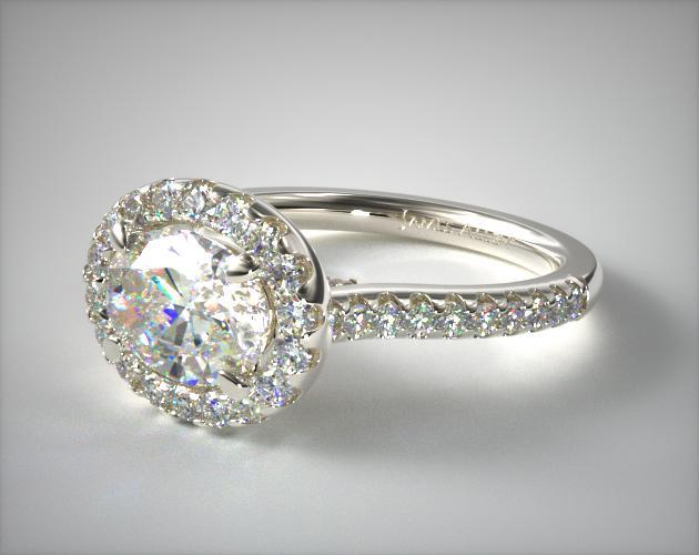 14K White Gold Endearing Love East-West Halo Pave Diamond Engagement Ring