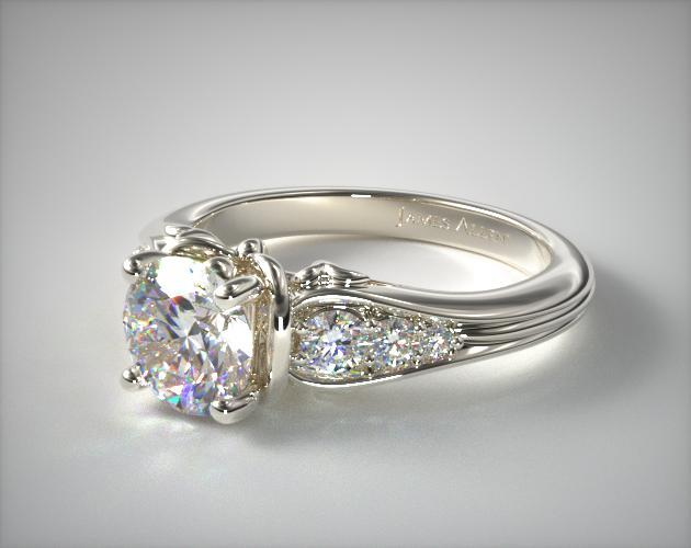 14K White Gold Graduated Pave Swirl Engagement Ring