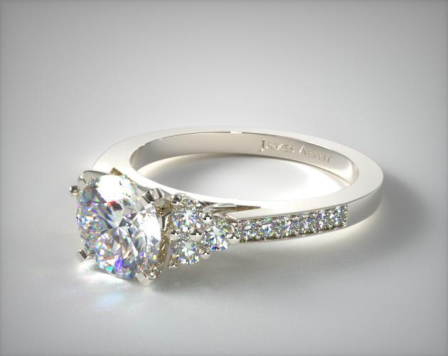 Platinum Pave Trio Engagement Ring
