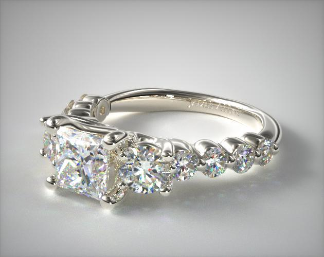 Platinum Round Diamond Trio engagement Ring