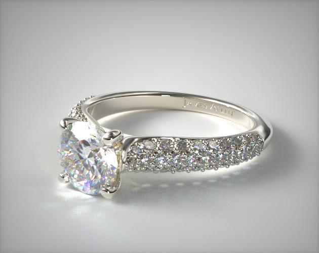 14K White Gold Graduated Triple Row Pave Engagement Ring